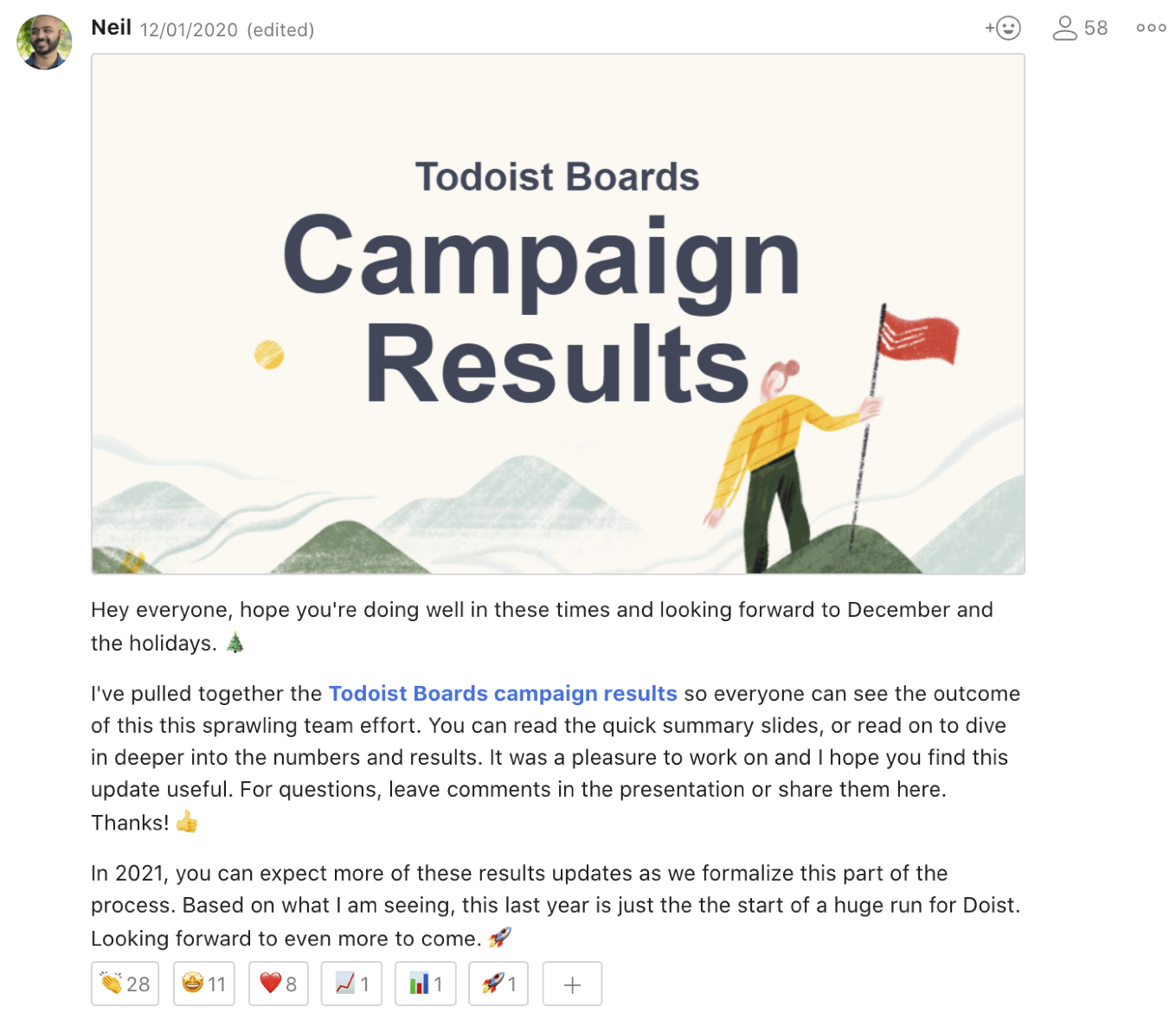 Campaign results screen grab.