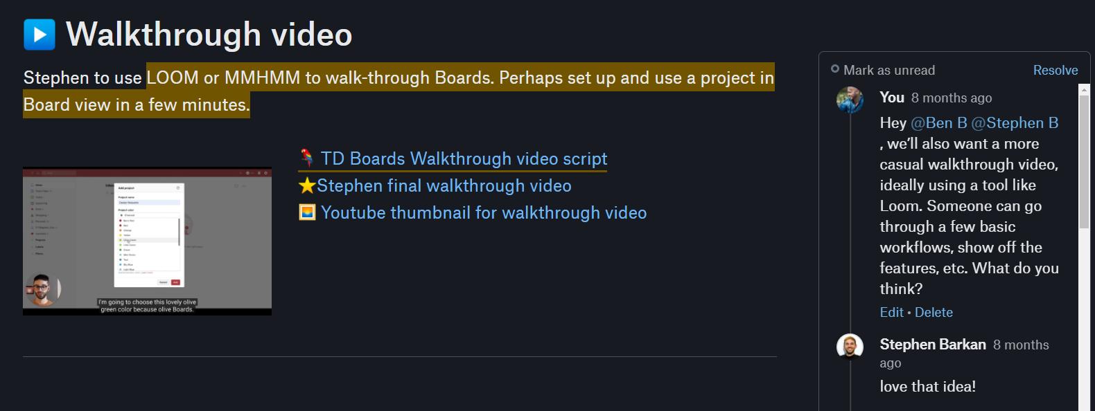 Screen grab of the walkthrough video on Twist